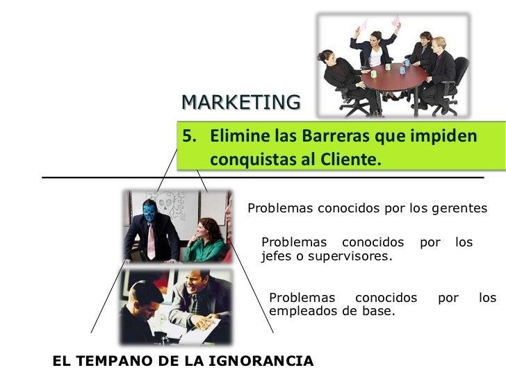MARKETING             5. Elimine las Barreras que impiden                conquistas al Cliente.                    Problem...