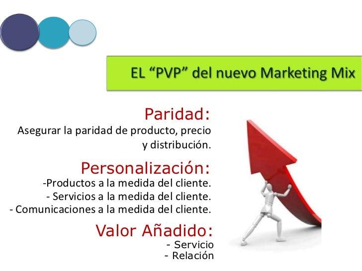 Paridad: Asegurar la paridad de producto, precio                          y distribución.               Personalización:  ...