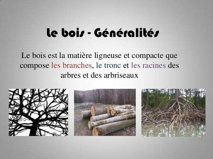 Le bois - GénéralitésLe bois est la matière ligneuse et compacte quecompose les branches, le tronc et les racines des     ...