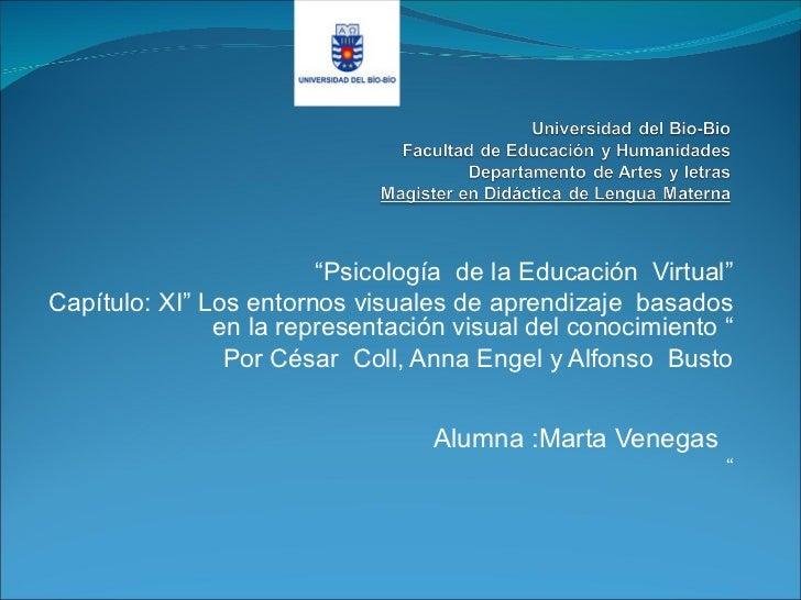 """""""Psicología de la Educación Virtual""""Capítulo: XI"""" Los entornos visuales de aprendizaje basados               en la represe..."""