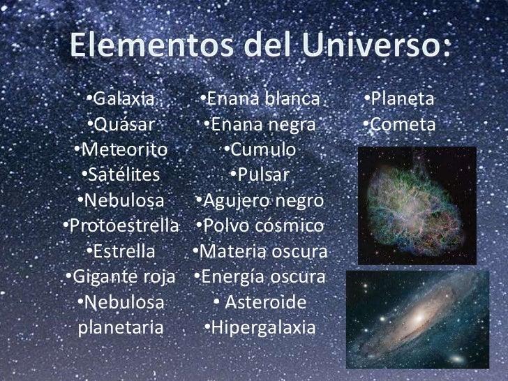 Resultado de imagen para elementos del universo