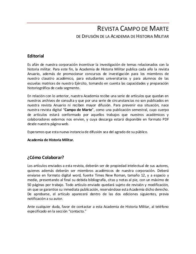 REVISTA CAMPO DE MARTE                                DE DIFUSIÓN DE LA ACADEMIA DE HISTORIA MILITAREditorialEs afán de nu...