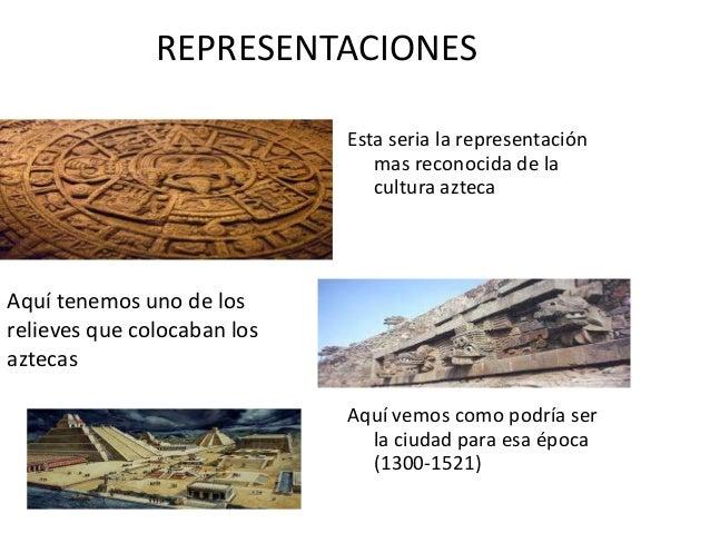 REPRESENTACIONESEsta seria la representaciónmas reconocida de lacultura aztecaAquí vemos como podría serla ciudad para esa...