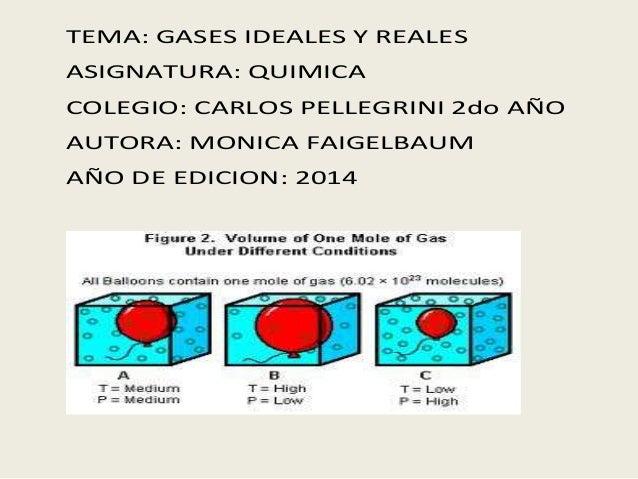 TEMA: GASES IDEALES Y REALES  ASIGNATURA: QUIMICA  COLEGIO: CARLOS PELLEGRINI 2do AÑO  AUTORA: MONICA FAIGELBAUM  AÑO DE E...