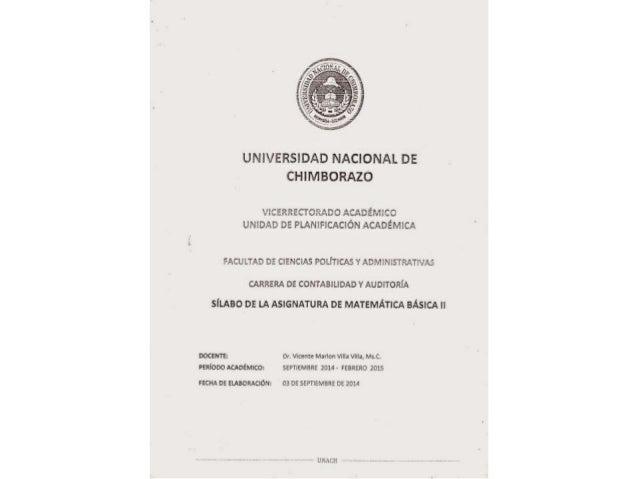 UNIVERSIDAD NACIONAL DE CHIMBORAZO  CERREÜCILADC ACADÉMICO UNIDAD DE PLANIFICACIÓN ACADÉMICA  FACULTAD DE CIENCIAS POLITIC...