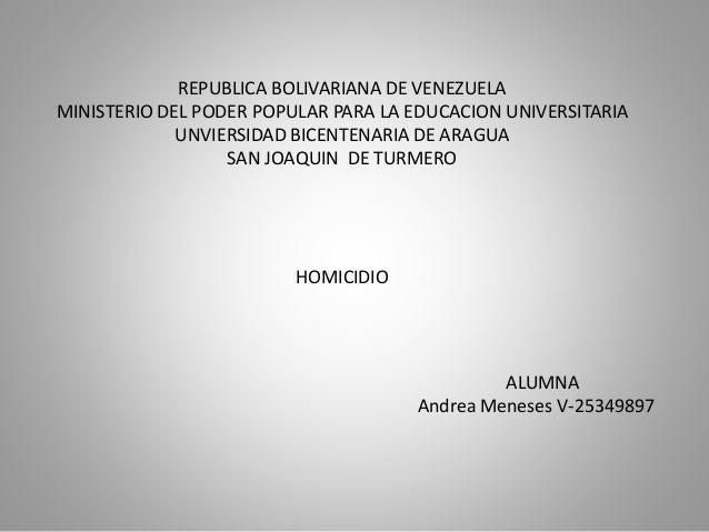 REPUBLICA BOLIVARIANA DE VENEZUELA MINISTERIO DEL PODER POPULAR PARA LA EDUCACION UNIVERSITARIA UNVIERSIDAD BICENTENARIA D...