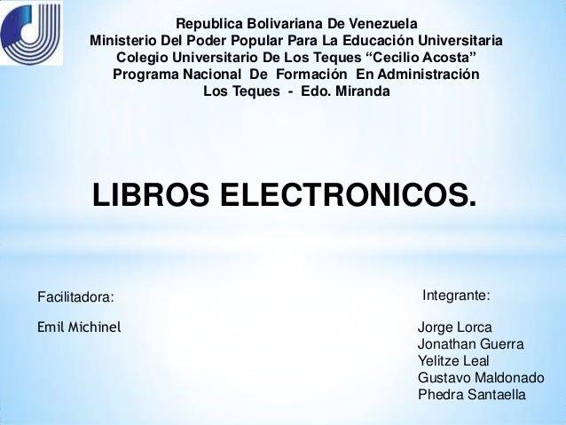 Republica Bolivariana De Venezuela        Ministerio Del Poder Popular Para La Educación Universitaria           Colegio U...