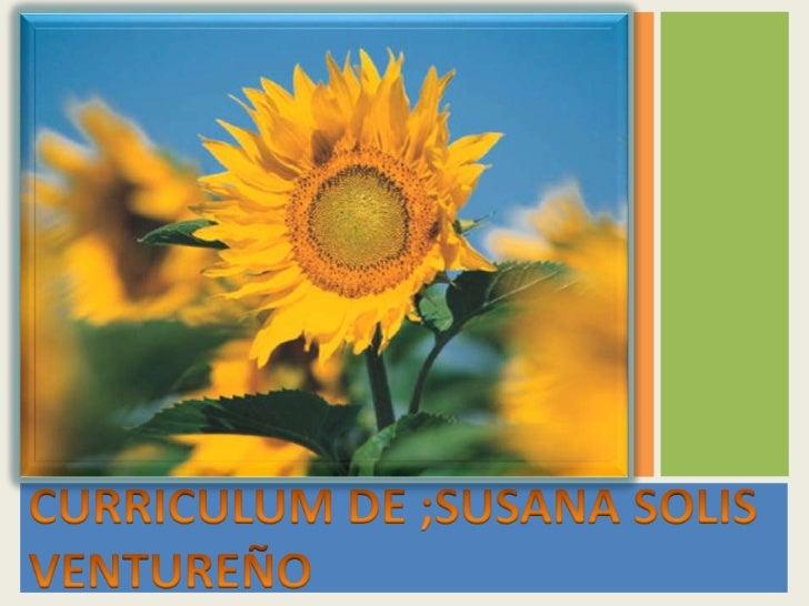 CURRICULUM DE ;SUSANA SOLIS VENTUREÑO<br />
