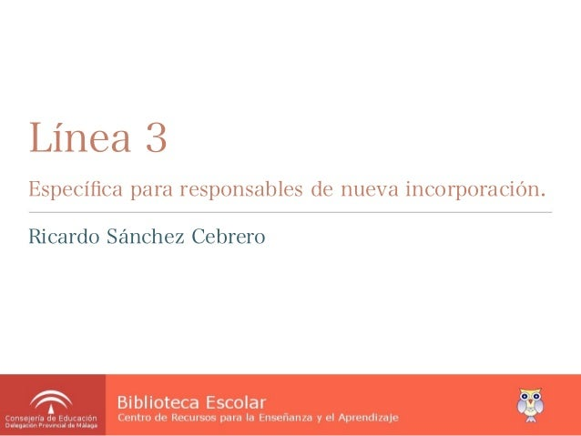 Línea 3Específica para responsables de nueva incorporación.Ricardo Sánchez Cebrero