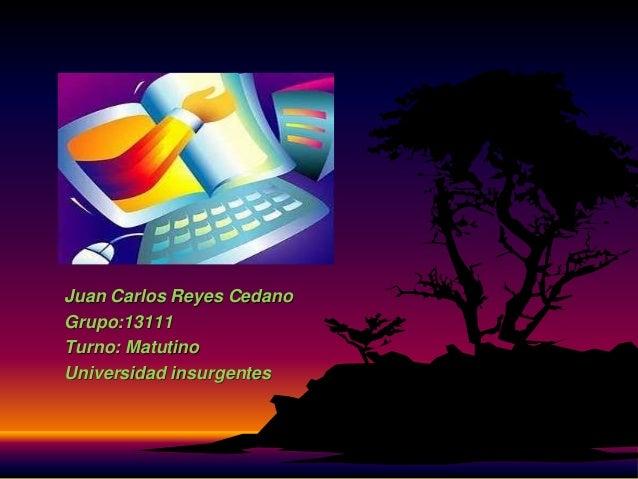 Juan Carlos Reyes Cedano Grupo:13111 Turno: Matutino Universidad insurgentes