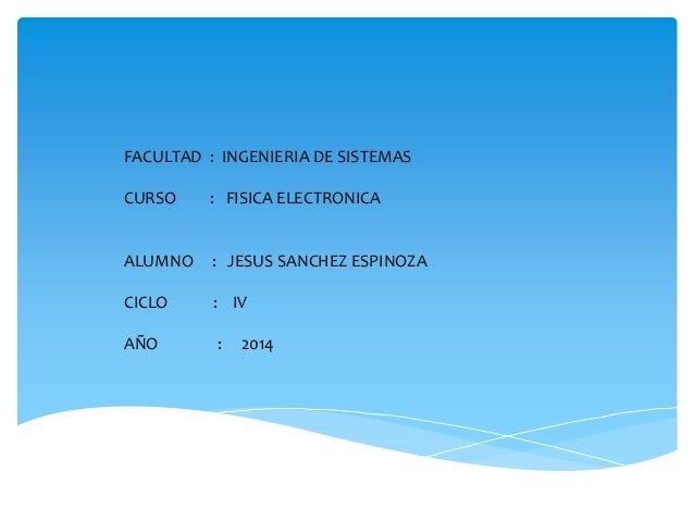 FACULTAD : INGENIERIA DE SISTEMAS CURSO : FISICA ELECTRONICA ALUMNO : JESUS SANCHEZ ESPINOZA CICLO : IV AÑO : 2014