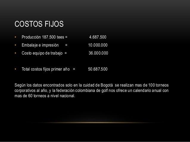 COSTOS FIJOS • Producción 187.500 tees = 4.687.500 • Embalaje e impresión = 10.000.000 • Costo equipo de trabajo = 36.000....
