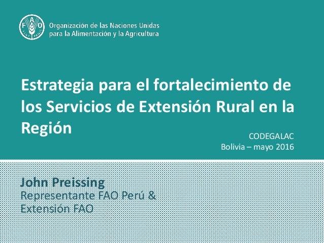 Estrategia para el fortalecimiento de los Servicios de Extensión Rural en la Región John Preissing Representante FAO Perú ...