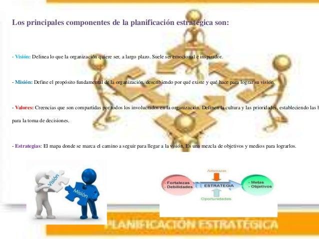 Los principales componentes de la planificación estratégica son: - Visión: Delinea lo que la organización quiere ser, a la...