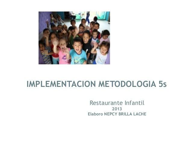 IMPLEMENTACION METODOLOGIA 5s             Restaurante Infantil                       2013            Elaboro NEPCY BRILLA ...