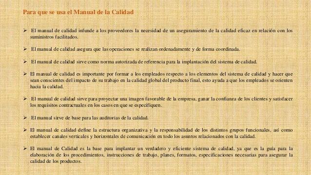 Manual de calidad: especificaciones y estructura   eae.