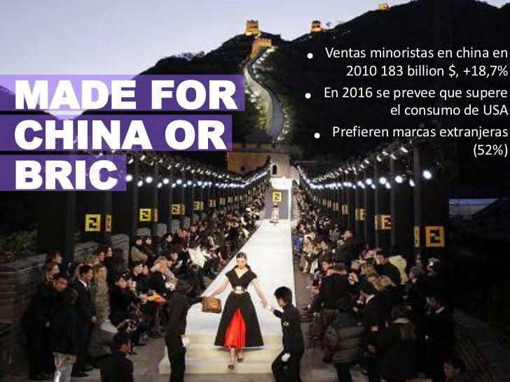 Ventas minoristas en china en 2010 183 billion $, +18,7%<br />En 2016 se prevee que supere el consumo de USA<br />Prefiere...