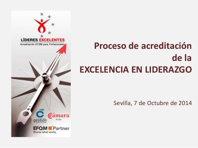 Proceso de acreditación  de la  EXCELENCIA EN LIDERAZGO  Sevilla, 7 de Octubre de 2014