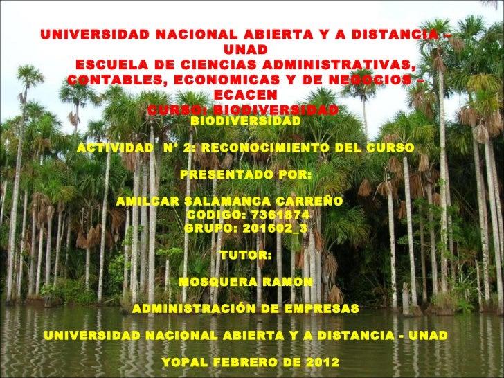 UNIVERSIDAD NACIONAL ABIERTA Y A DISTANCIA –                    UNAD    ESCUELA DE CIENCIAS ADMINISTRATIVAS,   CONTABLES, ...