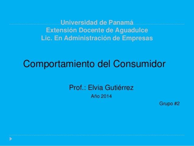 Universidad de Panamá Extensión Docente de Aguadulce Lic. En Administración de Empresas Comportamiento del Consumidor Prof...