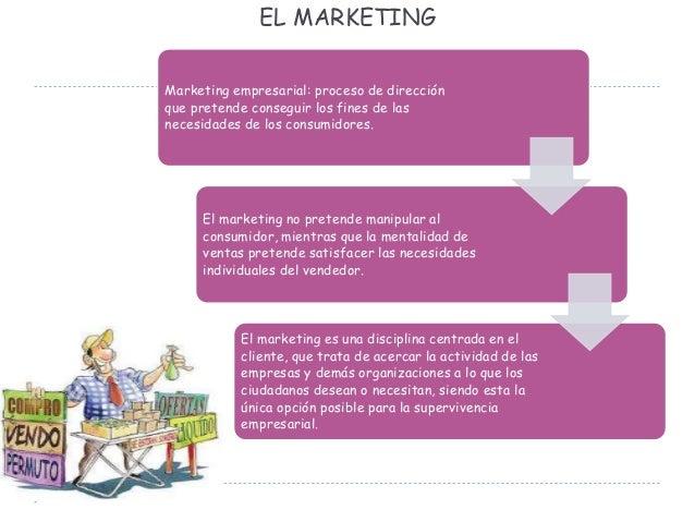 EL MARKETING Marketing empresarial: proceso de dirección que pretende conseguir los fines de las necesidades de los consum...