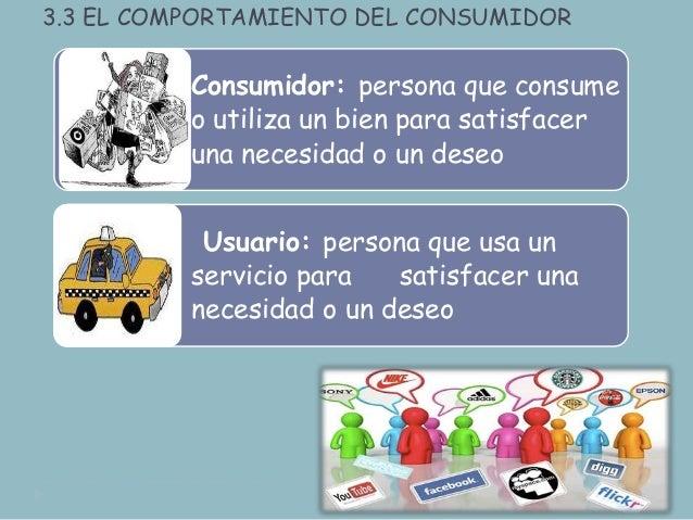 3.3 EL COMPORTAMIENTO DEL CONSUMIDOR Consumidor: persona que consume o utiliza un bien para satisfacer una necesidad o un ...