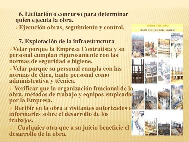 6. Licitación o concurso para determinar quien ejecuta la obra. Ejecución obras, seguimiento y control. 7. Explotación de...