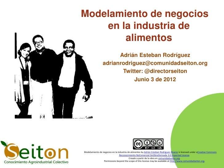 Modelamiento de negocios    en la industria de        alimentos                       Adrián Esteban Rodríguez            ...