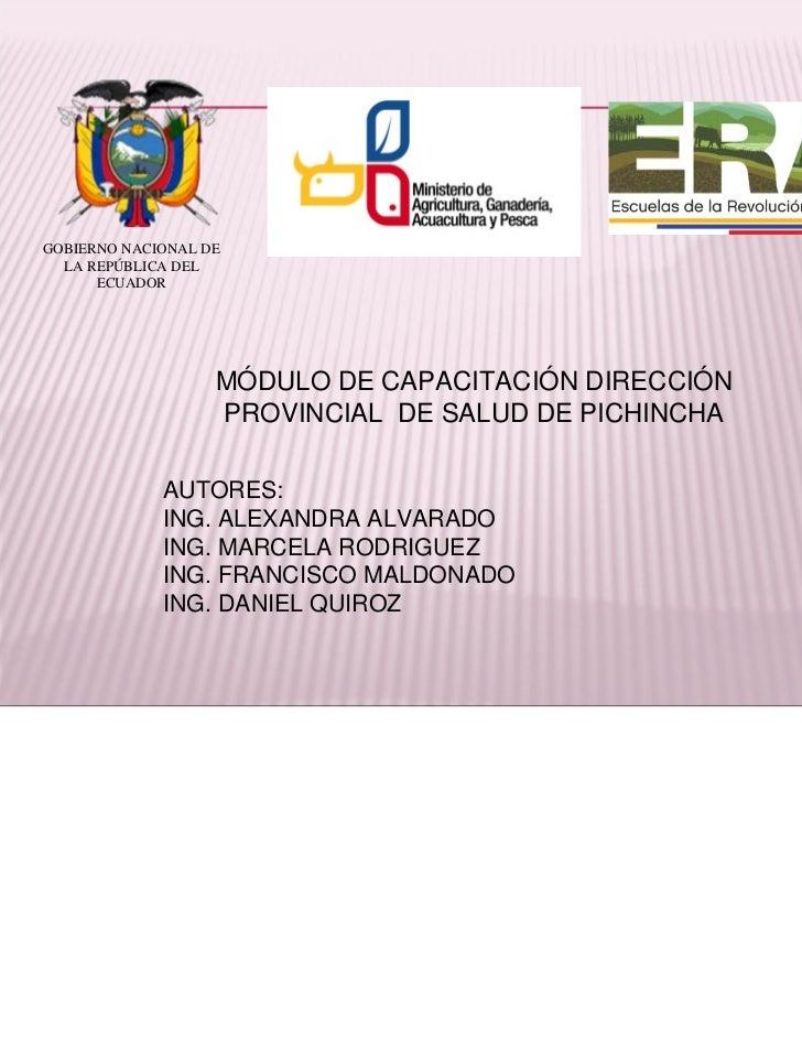 GOBIERNO NACIONAL DE  LA REPÚBLICA DEL      ECUADOR                   MÓDULO DE CAPACITACIÓN DIRECCIÓN                   P...