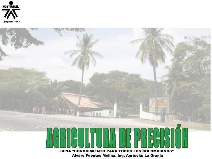 """SENA """"CONOCIMIENTO PARA TODOS LOS COLOMBIANOS""""  Alvaro Puentes Molina. Ing. Agrícola; La Granja AGRICULTURA DE P..."""