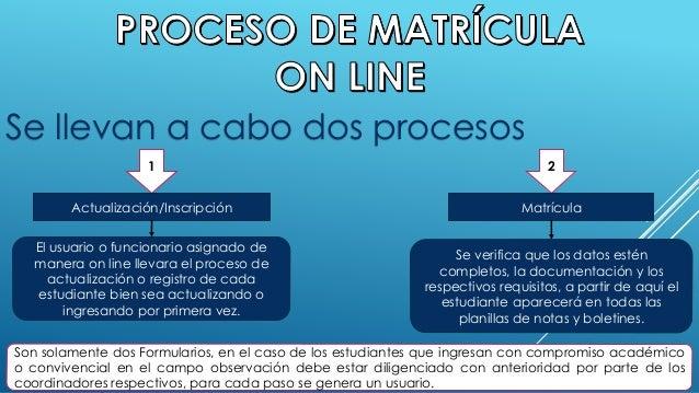 Se llevan a cabo dos procesos  1  Actualización/Inscripción  El usuario o funcionario asignado de  manera on line llevara ...