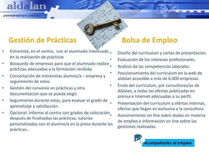 Gestión de Prácticas                                       Bolsa de Empleo•   Entrevista, en el centro, con el alumnado in...