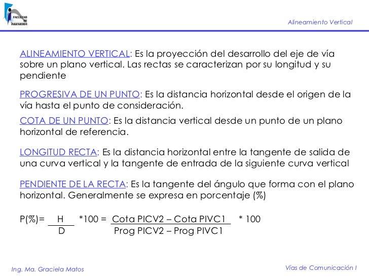 Alineamiento Vertical       ALINEAMIENTO VERTICAL: Es la proyección del desarrollo del eje de vía   sobre un plano vertica...