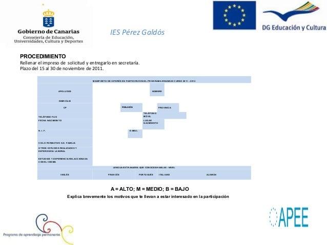 IES Pérez Galdós                            SOLICITUD DE PARTICIPACIÓN EN EL PROGRAMA ERASMUS                            C...