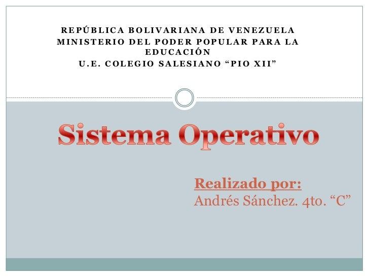 """REPÚBLICA BOLIVARIANA DE VENEZUELAMINISTERIO DEL PODER POPULAR PARA LA              EDUCACIÓN   U.E. COLEGIO SALESIANO """"PI..."""