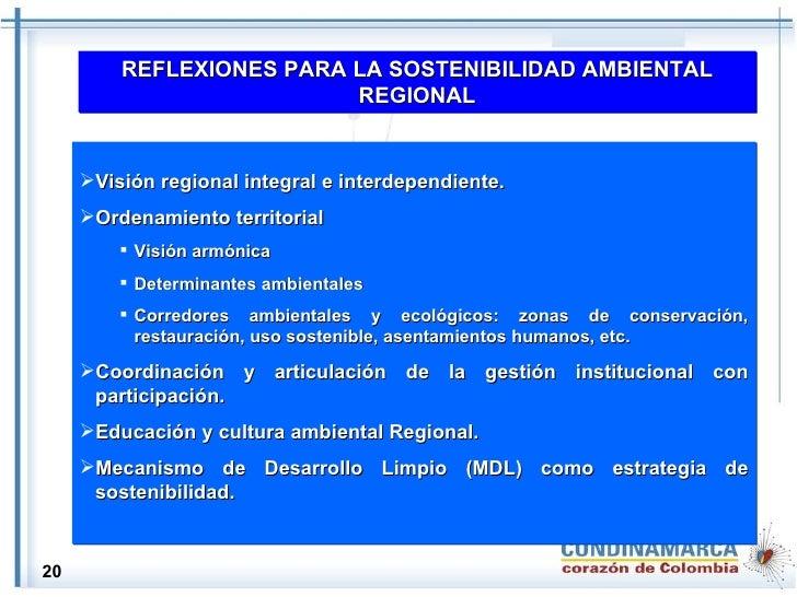 REFLEXIONES PARA LA SOSTENIBILIDAD AMBIENTAL REGIONAL <ul><li>Visión regional integral e interdependiente. </li></ul><ul><...