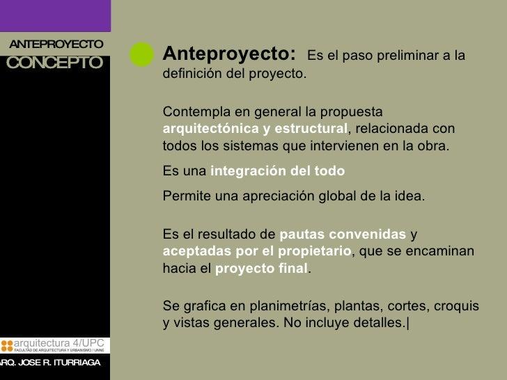 Presentacion anteproyecto for Obra arquitectonica definicion