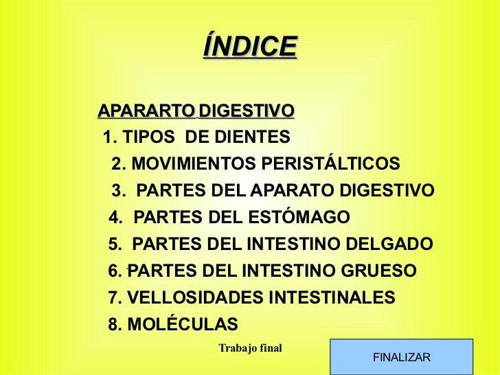 ÍNDICE APARARTO   DIGESTIVO <ul>1. TIPOS  DE DIENTES </ul>2. MOVIMIENTOS PERISTÁLTICOS . 3.  PARTES DEL APARATO DIGESTIVO ...