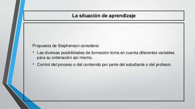 La situación de aprendizaje  Propuesta de Stephenson considera:  • Las diversas posibilidades de formación toma en cuenta ...