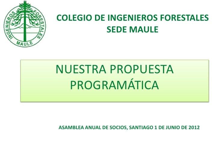 COLEGIO DE INGENIEROS FORESTALES           SEDE MAULENUESTRA PROPUESTA  PROGRAMÁTICAASAMBLEA ANUAL DE SOCIOS, SANTIAGO 1 D...