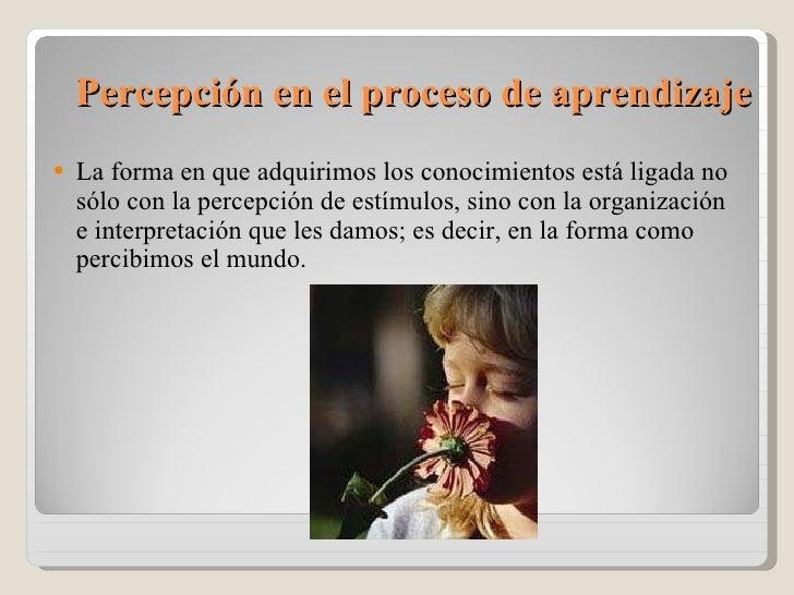 Percepción en el proceso de aprendizaje <ul><li>La forma en que adquirimos los conocimientos está ligada no sólo con la ...