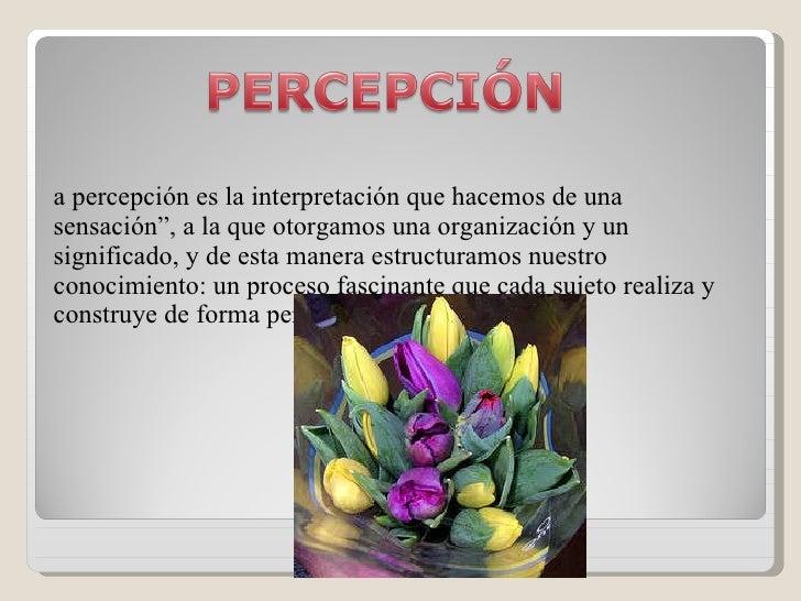 """<ul><li>La percepción es la interpretación que hacemos de una sensación"""", a la que otorgamos una organización y un signifi..."""
