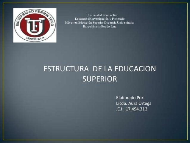 Universidad Fermín Toro Decanato de Investigación y Postgrado Máster en Educación Superior Docencia Universitaria Barquisi...