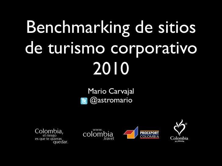 Benchmarking de sitios de turismo corporativo          2010         Mario Carvajal         @astromario