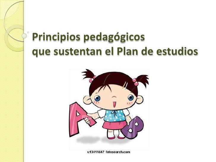 Principios pedagógicosque sustentan el Plan de estudios