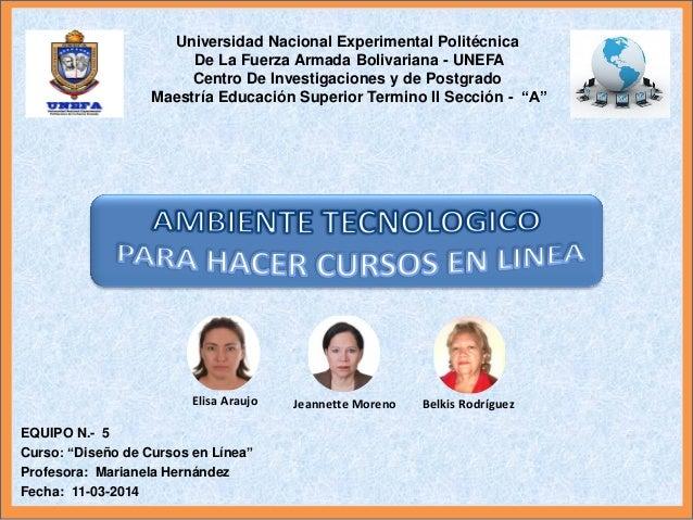 """EQUIPO N.- 5 Curso: """"Diseño de Cursos en Línea"""" Profesora: Marianela Hernández Fecha: 11-03-2014 Universidad Nacional Expe..."""