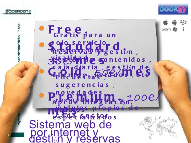 Free. Gratis para un solo servicio. Proporciona viralidad Standard.  30€/ mes Reservas y gesti ó n  ,  gestor de contenido...