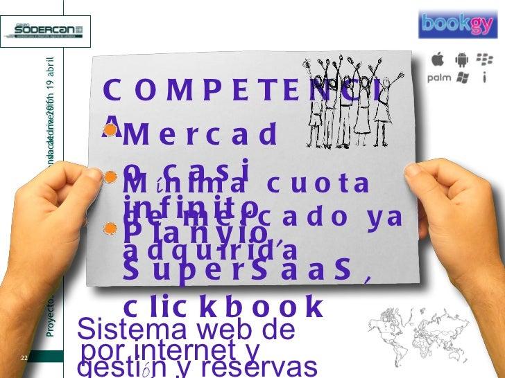 COMPETENCIA M í nima cuota de mercado ya adquirida Mercado casi infinito Planyio ,  SuperSaaS ,  clickbook Sistema web de ...