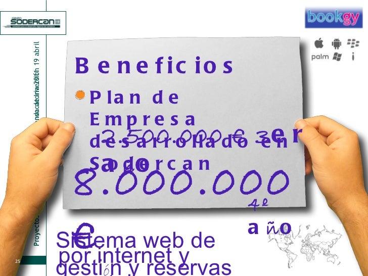 Beneficios 2.500.000 € 3 er a ñ o Plan de Empresa desarrollado en Sodercan 8.000.000 € Sistema web de gesti ó n y reservas...