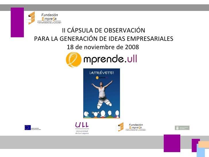 II CÁPSULA DE OBSERVACIÓN PARA LA GENERACIÓN DE IDEAS EMPRESARIALES 18 de noviembre de 2008
